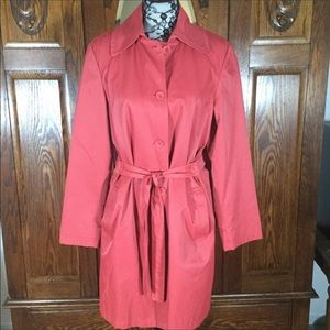 J. Jill Coral Red Long Sleeve Belted Trench Coat